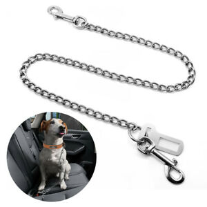 Chew Proof Dog Seat Belt for Car Stainless Steel Safety Restraint Pet Chain Lead