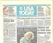 """USA Today Aug.10 1995 Jerry Garcia Fare Thee Well """"Deadheads Mourning"""" w Music"""