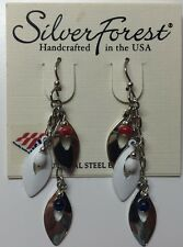 Silver Forest Red White & Blue Dangling Beads With Chains Unique Hook Earrings