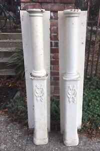 "(2) Antique Oak Fireplace Mantle Columns Posts W Ginger Bread 48"" Tall Over All"