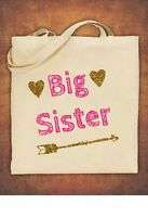Big Sister Birthday Present Gift baby  kids Tote Bag children's  Cotton Natural