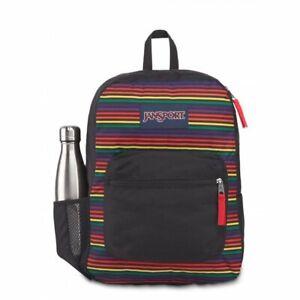 NWT  JANSPORT Cross Town Backpack Rainbow stripes JSOA47LW7E0