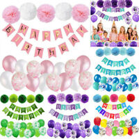 Happy Birthday Confetti Balloons Banner Bunting Wedding Party Home Decor Set