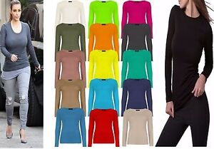 Womens Long Sleeve Stretch Plain Round Scoop Neck T Shirt Top Plus Size 8-26
