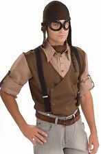 Steampunk Black Goggles Brown Aviator Hat Helmet Costume Accessory Set Mens