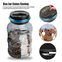 Electronic Digital LCD Coin Counter Counting Jar Money Saving Piggy Bank Box US.