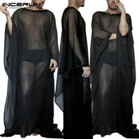 Men Sheer Mesh See Through Baggy Kaftan T-Shirt Breathable Long Robes Top Blouse