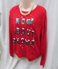 Divided Sequin How About Snow Holiday Ugly Christmas Sweater Womens M