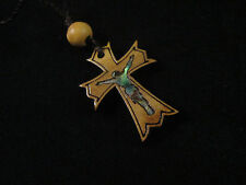 Handmade Mother of Pearl Crucifix & Olive Wood Syriac Cross Necklace Bethlehem