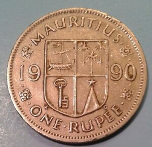 Mauritius  1 Rupee coin 1990