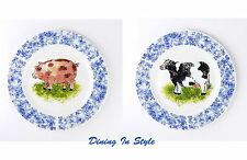 Set: 2 Dinner Plates MINT/NEAR MINT Country Barn Pig & Cow, Tabletops Unlimited