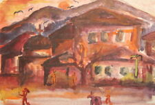Vintage Expressionist cityscape watercolor painting