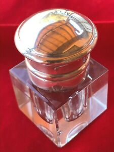 SQUARE STERLING SILVER CRYSTAL GLASS INK WELL Hinged Domed Lid ANTIQUE