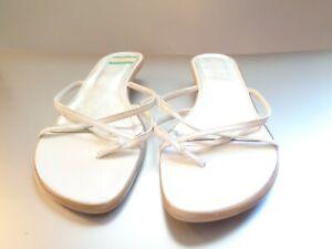 New Sam & Libby Slmultithon Women's White Toe Strap Low Heel Sandals Size 9M