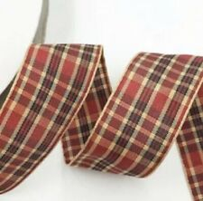 """Wired Ribbon ~ Tartan With Gold Trim~ 6.3cm//2.5"""" Wide ~ Christmas Cakes Crafts"""