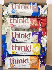 64 Think Protein Bars ~ 5 Varieties ~ Think Thin ~ Gluten Free ~ 20g Protein