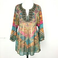 Mushka By Sienna Rose Rainbow Boho Flowy Tunic Top Empire Pioneer Woman Small 8