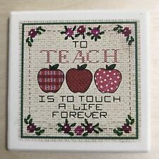 Teachers Coaster Tile Appreciation Gift Ceramic Square Apple Life School Present