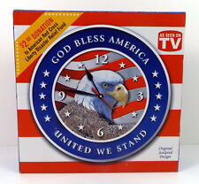 Battery Wall Clock God Bless America United We Stand Patriotic Red White Blue