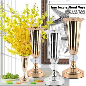 S/M/L Silver Gold Stunning Iron Luxury Flower Wedding Vase Table XMAS Home Decor