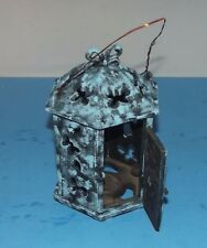 "Cast Iron Candle Holder Hanging Lamp 9""x 6 Turquoise Black Ornate w Butterflies"