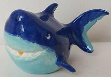 Shark Figurine Blue Ceramic Cartoon Style Shark Decor Sea Nautical Ocean Fish