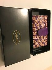 LADIES LEATHER WALLET AMBANC BRAND 28 CARDS EXECUTIVE (PURPLE FLOWER ) AW-07