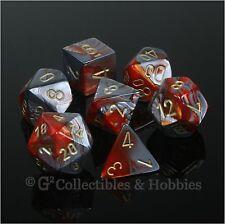 NEW 7pc Set Orange Steel Gray Gemini Dice in Box RPG Game D&D Chessex D20 D12 +