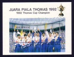1992 Malaysia Sports Badminton Thomas Cup Champion Miniature Sheet Stamps Mint
