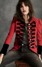 Free People Seamed & Structured Military Jacket Blazer Red XS