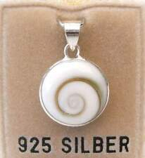 NEU 925 Silber ANHÄNGER mit SHIVA MUSCHEL / Operculum / SHIVAS EYE für Ketten
