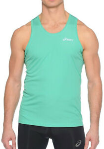 Asics Essential Mens Running Singlet Green Breathable Motion Dry Race Vest S M L