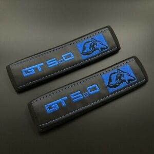 Black seat belt covers pads with blue embroidery fits Mustang GT 5.0 2PCS