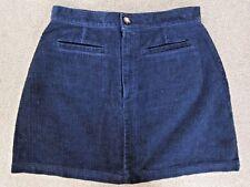 "Vintage Gap Cord Mini Skirt Navy Blue Cotton Corduroy 27.5"" Waist Girls Large 14"