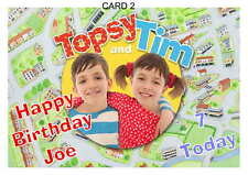 LARGE A5 GLOSSY PERSONALISED TOPSY AND TIM BIRTHDAY CARD