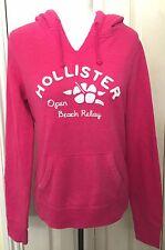 Hollister Women Pink Drawstrings Long Sleeve Hoodie Size M