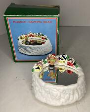 "Vintage Skating/Twirling Bear on Pond ""Skater's Away"" Music Box Christmas W/Box"