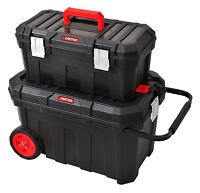 2 IN 1 Large Rolling Heavy Duty Mobile Tool Storage Box Chest On Wheels