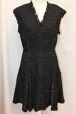 NEW Rebecca Taylor Stretch Sleeveless Tweed Dress Black 8 M $495