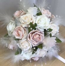 Bridal Bridesmaid Wedding Bouquet, Vintage Rose Feathers Crystals Lace