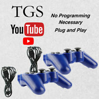 2 Wireless Blue Bluetooth Replacement Controller for Sony Playstation 3 PS3