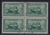 Canada Sc #258 (1942) 13c dull green Ram Tank Block of Four VF Used