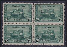 Canada Sc #258 (1942) 13c dull green Ram Tank Block of Four VF Used