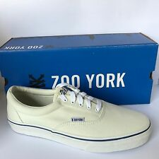 Zoo York Mens Canvas Trainers Lace Up Plimsoll Casual Size 9 Off White New £12