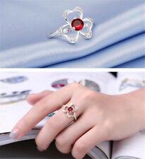 Women's Silver Jewelry Ruby fine Flower Fashion Charm Shine Delicate Ring Size 7