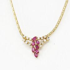 NYJEWEL New 14k Yellow Gold 1.35ct Captivating Classic Ruby Diamond Necklace