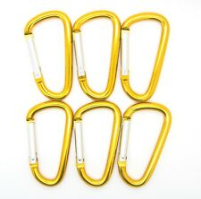"Pack of 6 pcs 3"" Aluminum Carabiner Spring Belt Clip Key Chain D Shape Gold New"