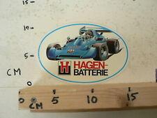 STICKER,DECAL HAGEN BATTERIE GRAND PRIX FORMULA ONE RACE CAR RARE STICKER