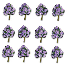 Craft Flowers -12mm Qty x 144 Mini Mulberry Paper Rose - Light Purple