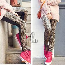 AU SELLER Leopard Velvet&Leather Look Leggings Pants SZ S-M p013